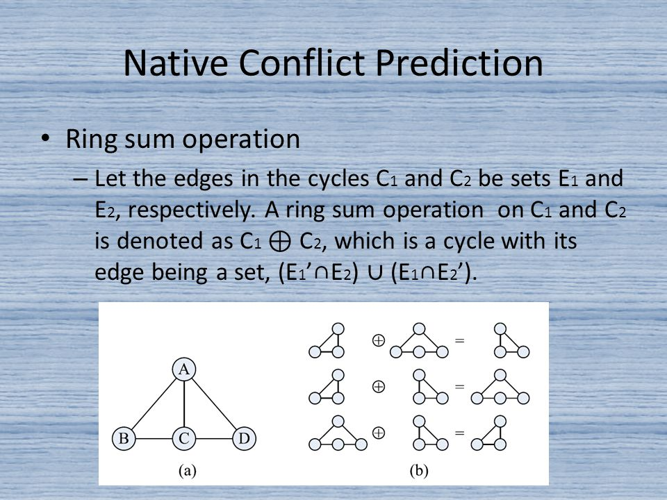 Native Conflict Prediction Ring sum operation – Let the edges in the cycles C 1 and C 2 be sets E 1 and E 2, respectively.