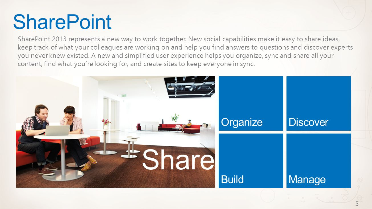 SharePoint Share SharePoint 2013 represents a new way to work together.