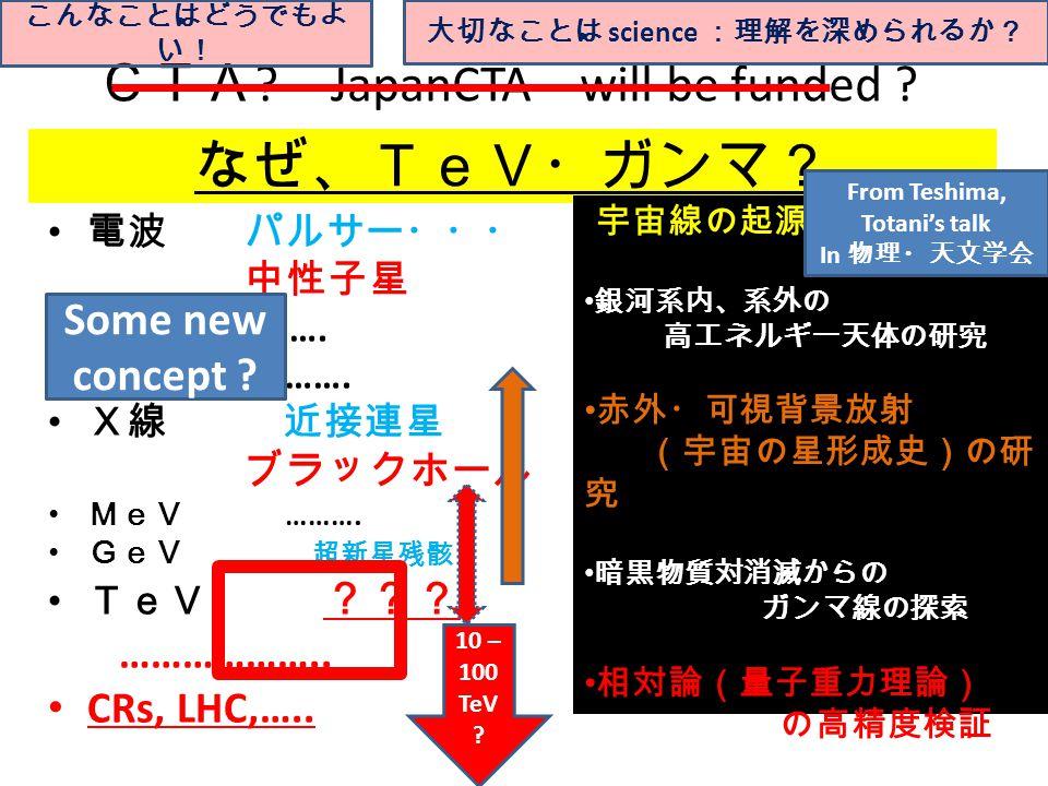 なぜ、TeV・ガンマ? 電波 パルサー・・・ 中性子星 ….. ……. 赤外線 ……. X線 近接連星 ブラックホール MeV ……….