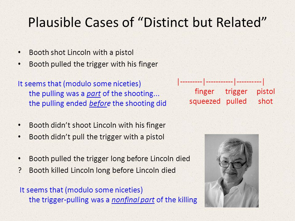 Plausible Cases of Distinct but Related Booth shot Lincoln with a pistol Booth pulled the trigger with his finger It seems that (modulo some niceties) the pulling was a part of the shooting...