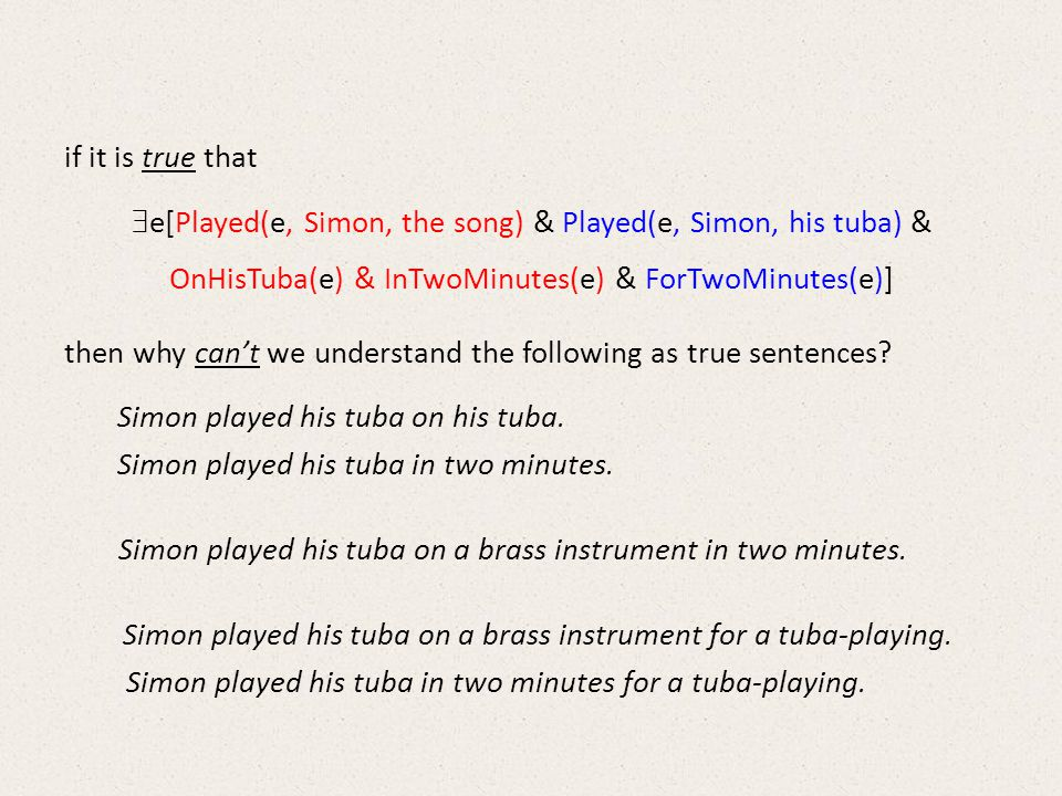 if it is true that  e[Played(e, Simon, the song) & Played(e, Simon, his tuba) & OnHisTuba(e) & InTwoMinutes(e) & ForTwoMinutes(e)] then why can't we understand the following as true sentences.
