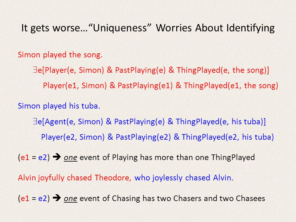It gets worse… Uniqueness Worries About Identifying Simon played the song.