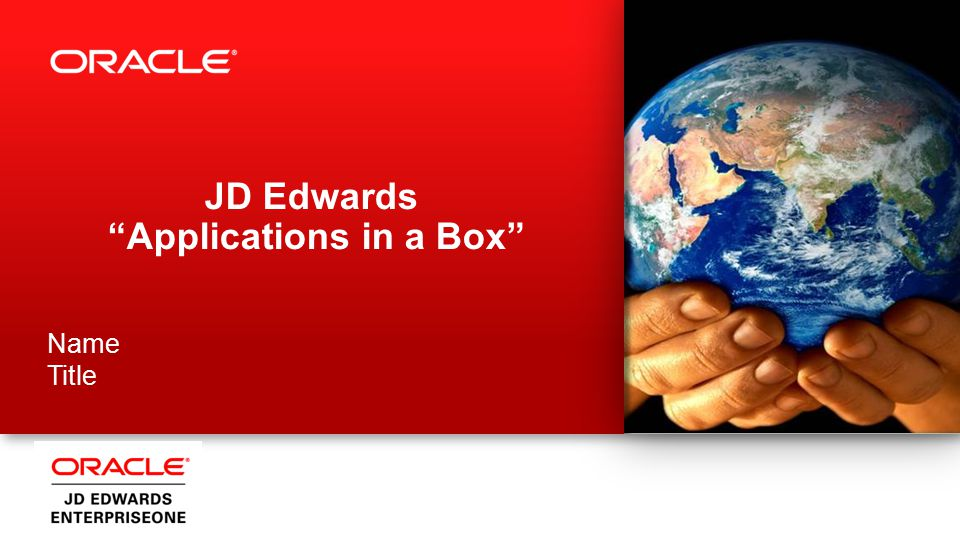 JD Edwards Applications in a Box Name Title