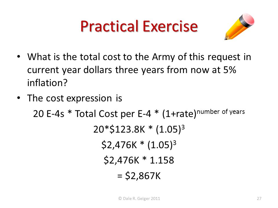 Practical Exercise What is the total cost to the Army of this request in current year dollars three years from now at 5% inflation.
