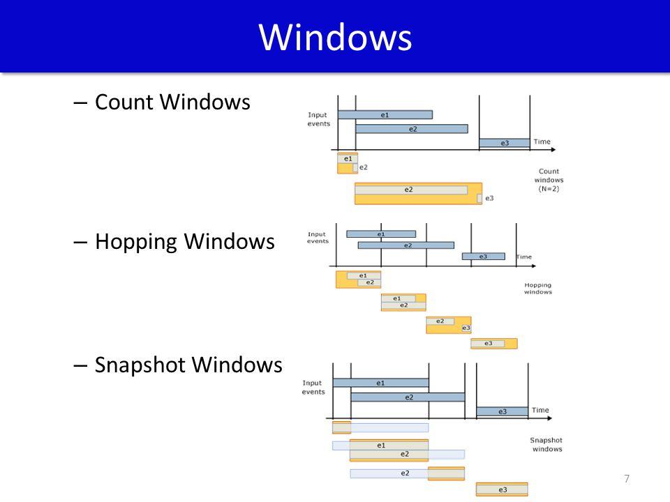 Windows – Count Windows – Hopping Windows – Snapshot Windows 7