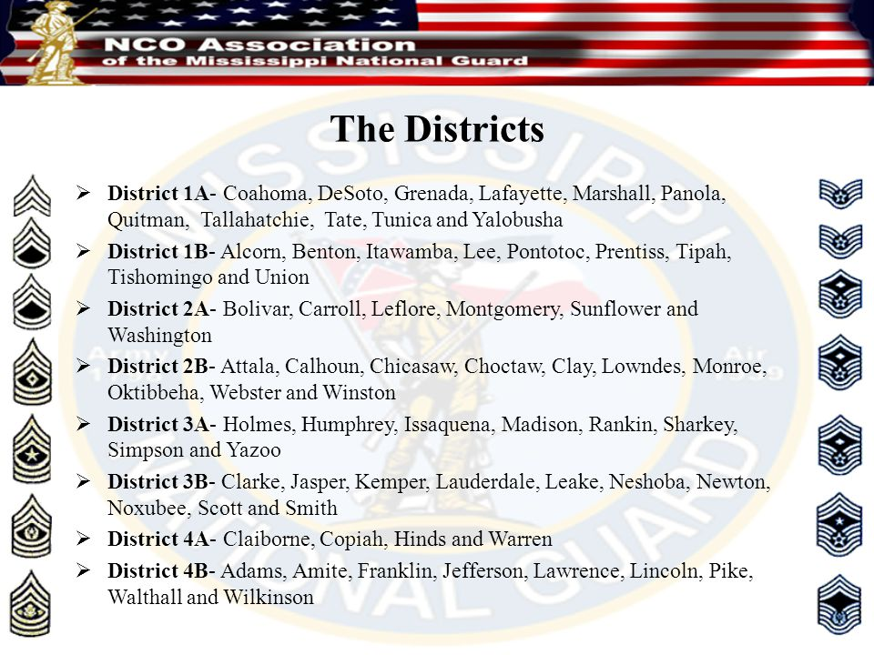 The Districts  District 1A- Coahoma, DeSoto, Grenada, Lafayette, Marshall, Panola, Quitman, Tallahatchie, Tate, Tunica and Yalobusha  District 1B- A