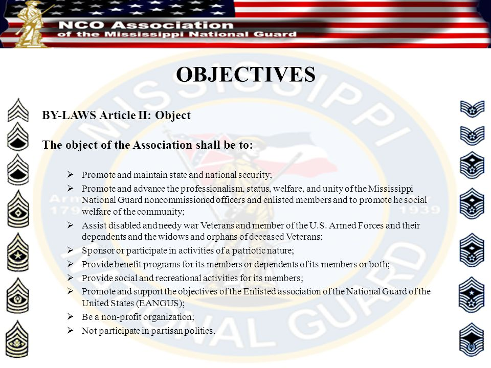 OBJECTIVES BY-LAWS Article II: Object The object of the Association shall be to:  Promote and maintain state and national security;  Promote and adv