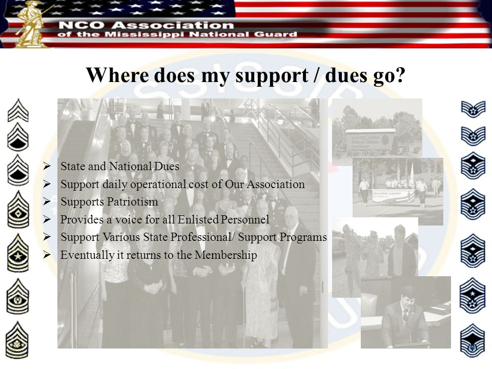 Where does my support / dues go?  State and National Dues  Support daily operational cost of Our Association  Supports Patriotism  Provides a voic