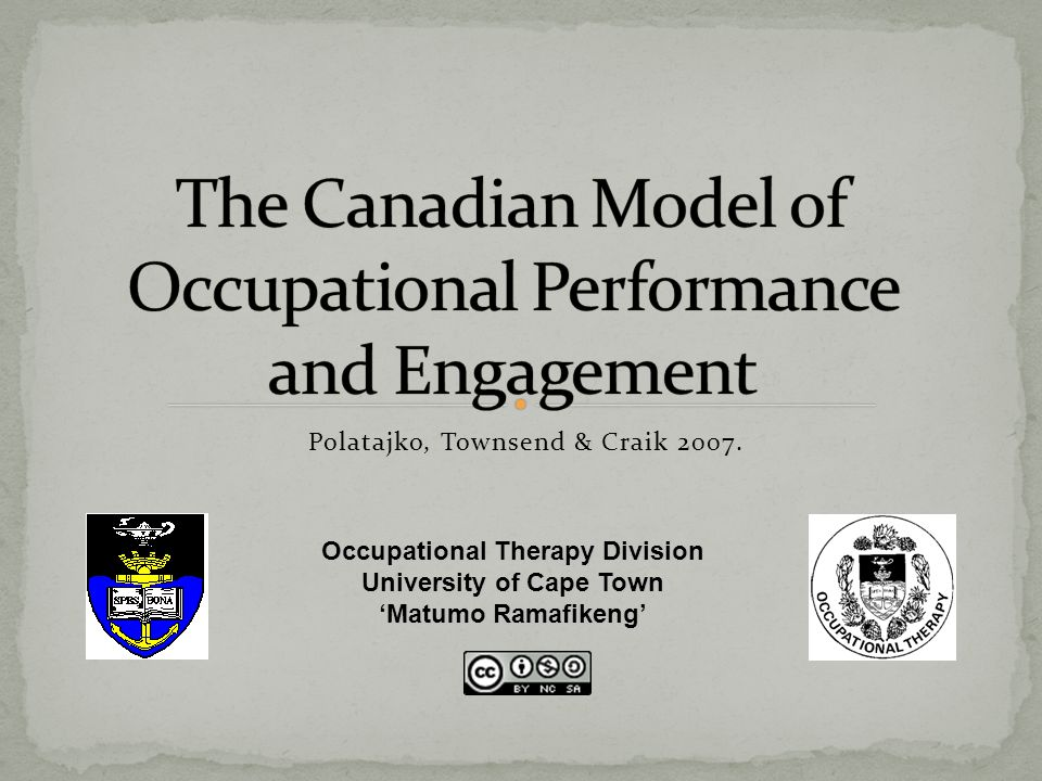 Change in one component= change in another component Limitations within the person= decreased performance An unsupportive environment= decreased performance and engagement Limited occupational opportunities= limited occupational engagement Harmonious relationship between components= optimal performance and engagement