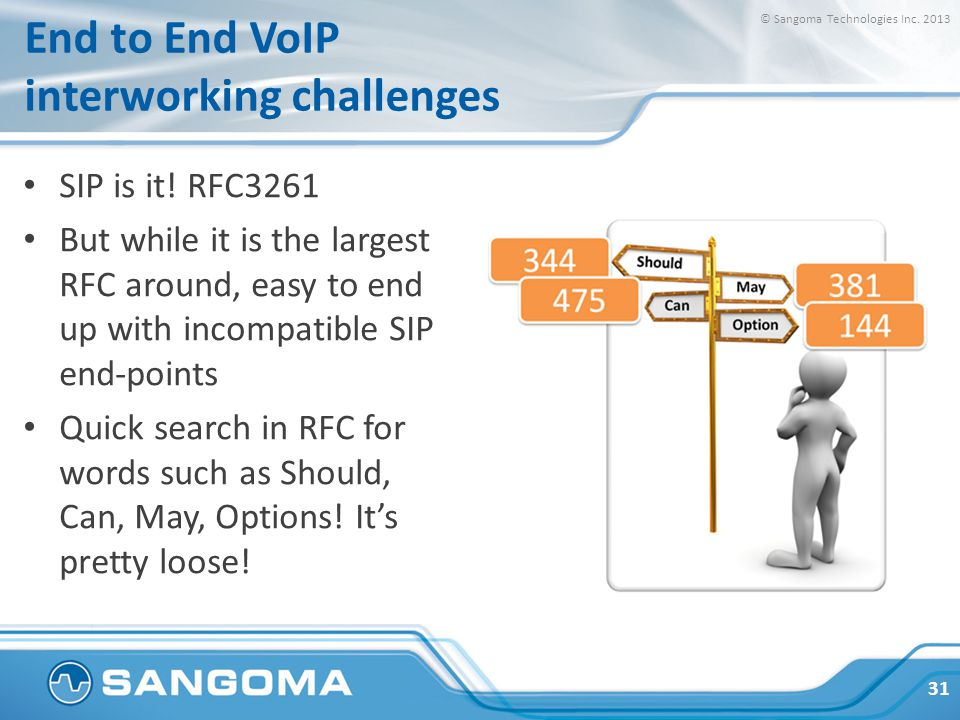 End to End VoIP interworking challenges SIP is it! RFC3261 But while it is the largest RFC around, easy to end up with incompatible SIP end-points Qui