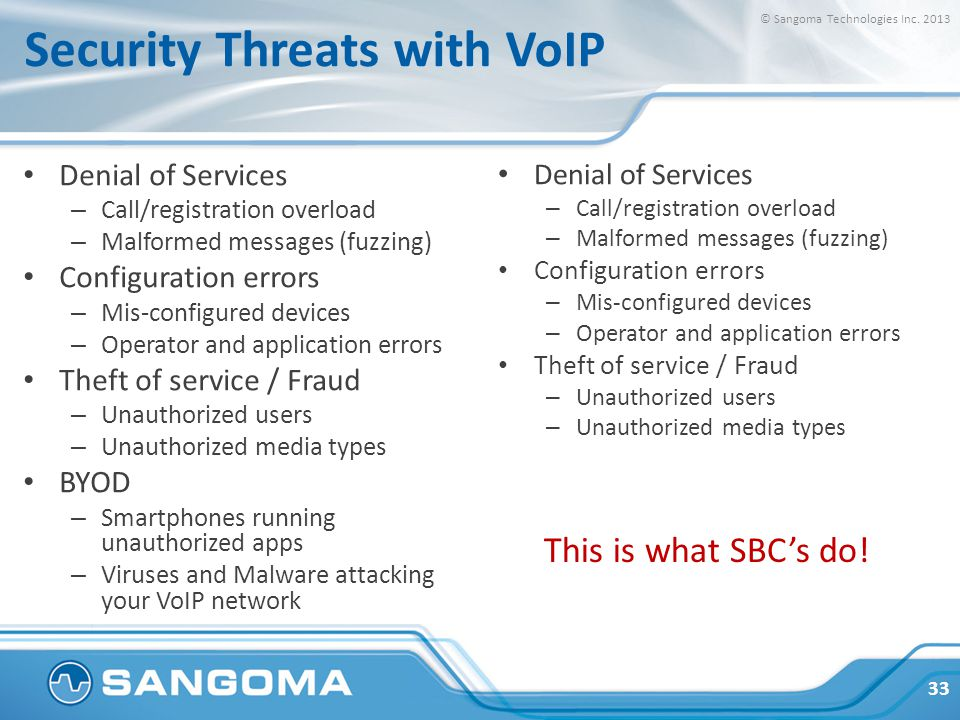 Security Threats with VoIP Denial of Services – Call/registration overload – Malformed messages (fuzzing) Configuration errors – Mis-configured devices – Operator and application errors Theft of service / Fraud – Unauthorized users – Unauthorized media types BYOD – Smartphones running unauthorized apps – Viruses and Malware attacking your VoIP network Denial of Services – Call/registration overload – Malformed messages (fuzzing) Configuration errors – Mis-configured devices – Operator and application errors Theft of service / Fraud – Unauthorized users – Unauthorized media types 33 © Sangoma Technologies Inc.