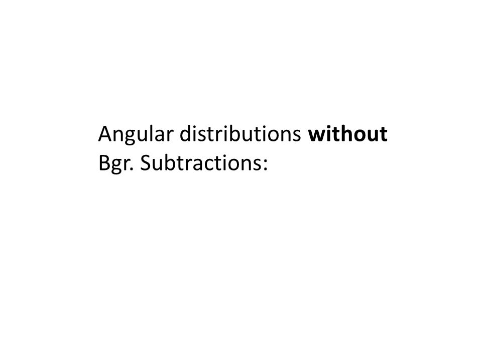 Angular distributions without Bgr. Subtractions: