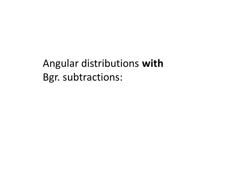 Angular distributions with Bgr. subtractions: