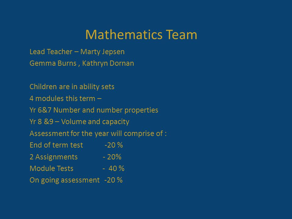 Mathematics Team Lead Teacher – Marty Jepsen Gemma Burns, Kathryn Dornan Children are in ability sets 4 modules this term – Yr 6&7 Number and number p