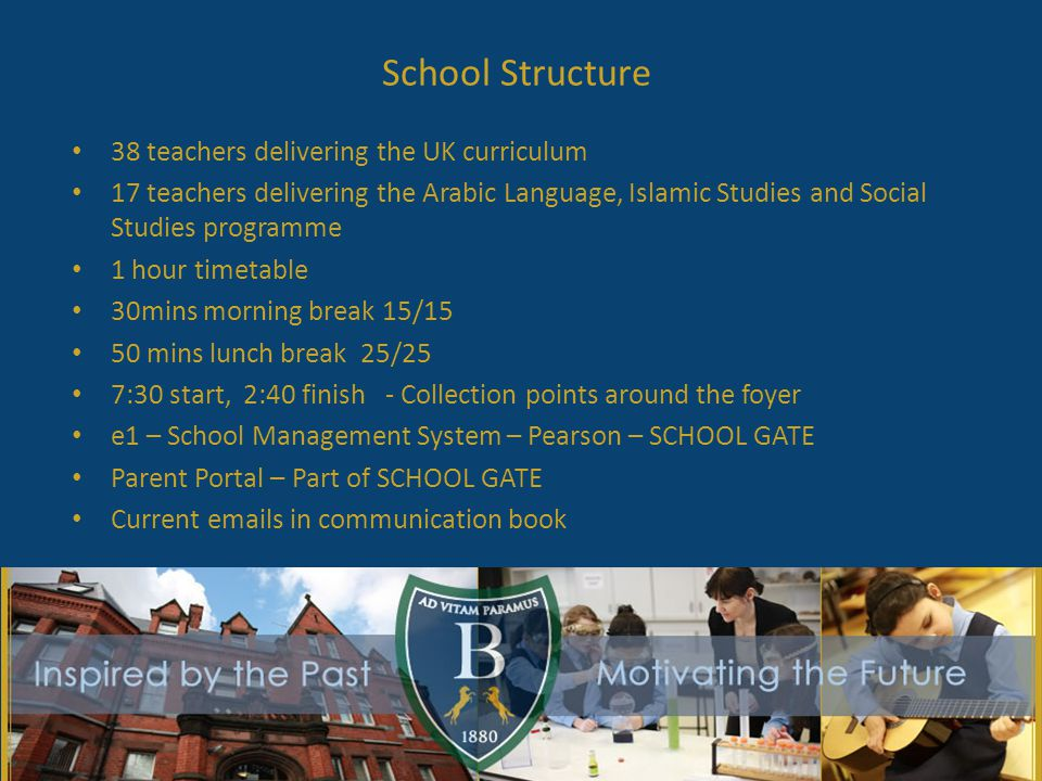 School Structure 38 teachers delivering the UK curriculum 17 teachers delivering the Arabic Language, Islamic Studies and Social Studies programme 1 hour timetable 30mins morning break 15/15 50 mins lunch break 25/25 7:30 start, 2:40 finish - Collection points around the foyer e1 – School Management System – Pearson – SCHOOL GATE Parent Portal – Part of SCHOOL GATE Current emails in communication book