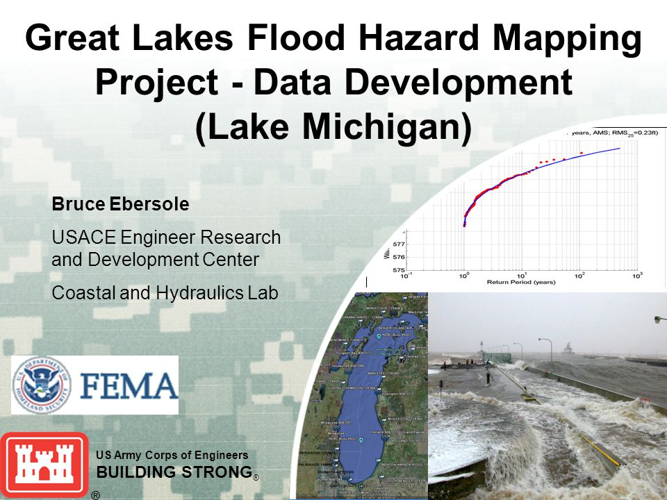 US Army Corps of Engineers BUILDING STRONG ® Great Lakes Flood Hazard Mapping Project - Data Development (Lake Michigan) Bruce Ebersole USACE Engineer Research and Development Center Coastal and Hydraulics Lab