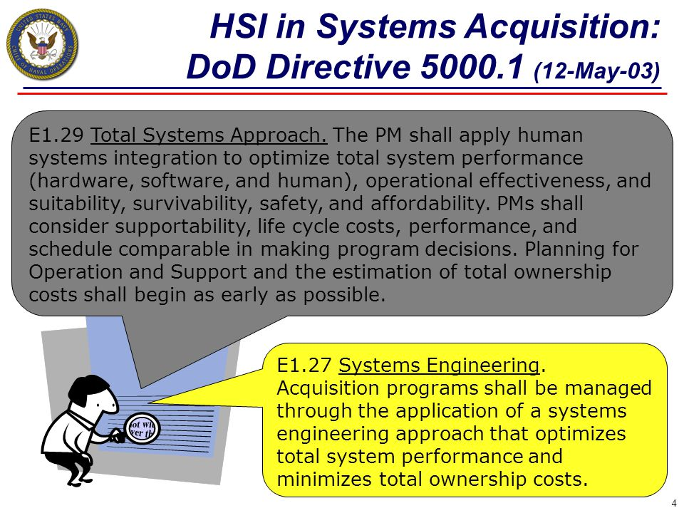 4 E1.27 Systems Engineering. Acquisition programs shall be managed through the application of a systems engineering approach that optimizes total syst