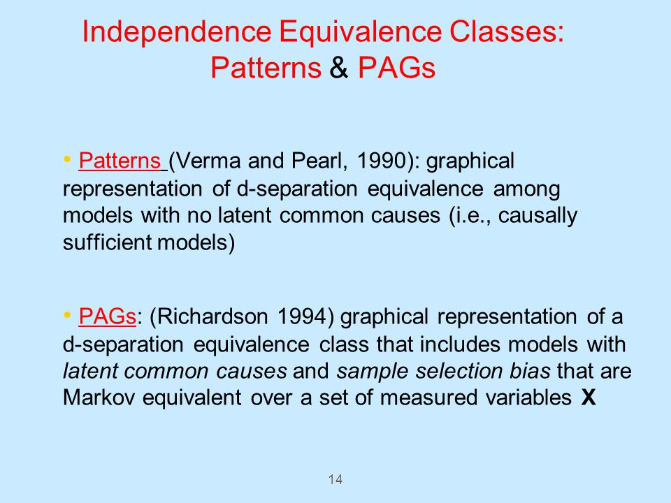 14 Independence Equivalence Classes: Patterns & PAGs Patterns (Verma and Pearl, 1990): graphical representation of d-separation equivalence among models with no latent common causes (i.e., causally sufficient models) PAGs: (Richardson 1994) graphical representation of a d-separation equivalence class that includes models with latent common causes and sample selection bias that are Markov equivalent over a set of measured variables X
