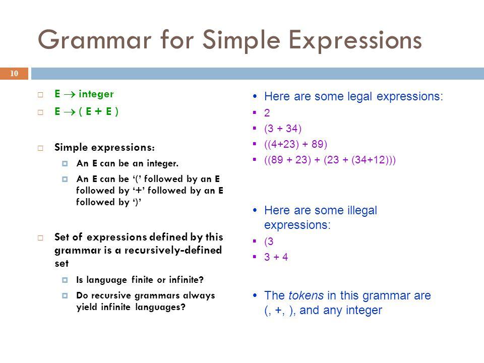 Grammar for Simple Expressions 10  E  integer  E  ( E + E )  Simple expressions:  An E can be an integer.