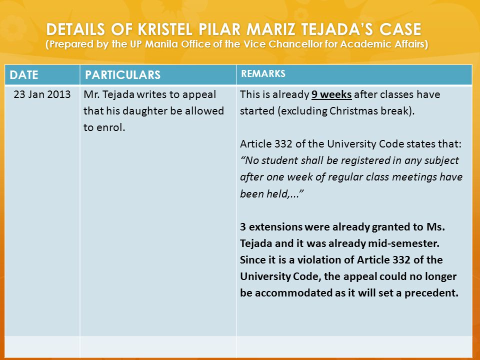 DETAILS OF KRISTEL PILAR MARIZ TEJADA'S CASE (Prepared by the UP Manila Office of the Vice Chancellor for Academic Affairs) DATEPARTICULARS REMARKS 23