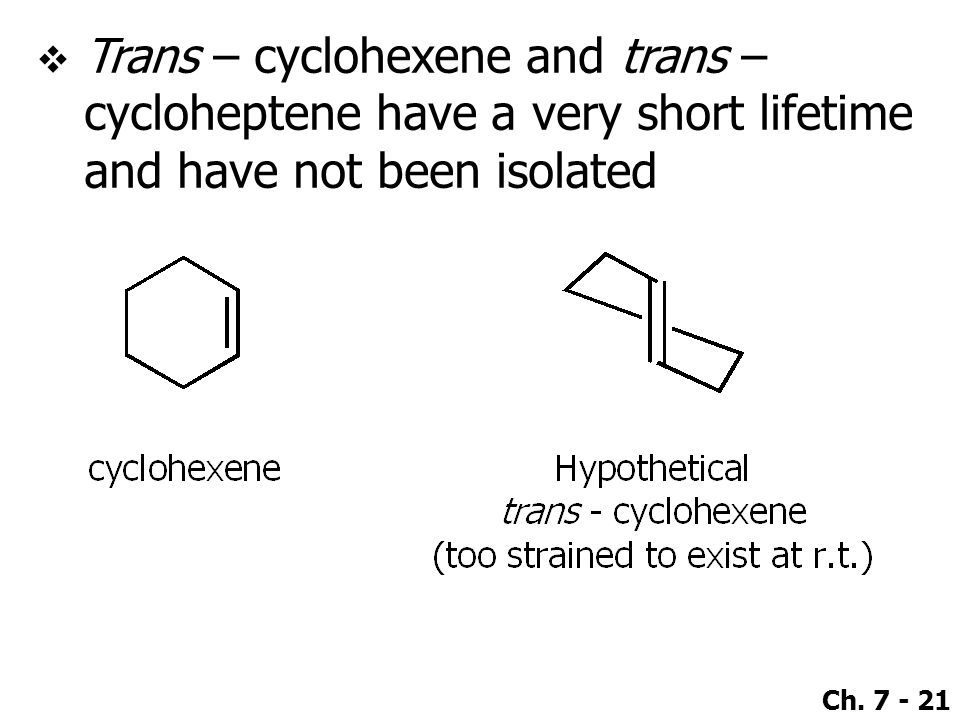 Ch. 7 - 21  Trans – cyclohexene and trans – cycloheptene have a very short lifetime and have not been isolated