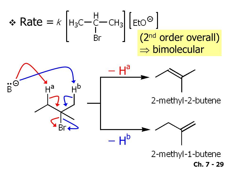 Ch. 7 - 29  Rate = ̶̶̶ H a ̶̶̶ H b (2 nd order overall)  bimolecular