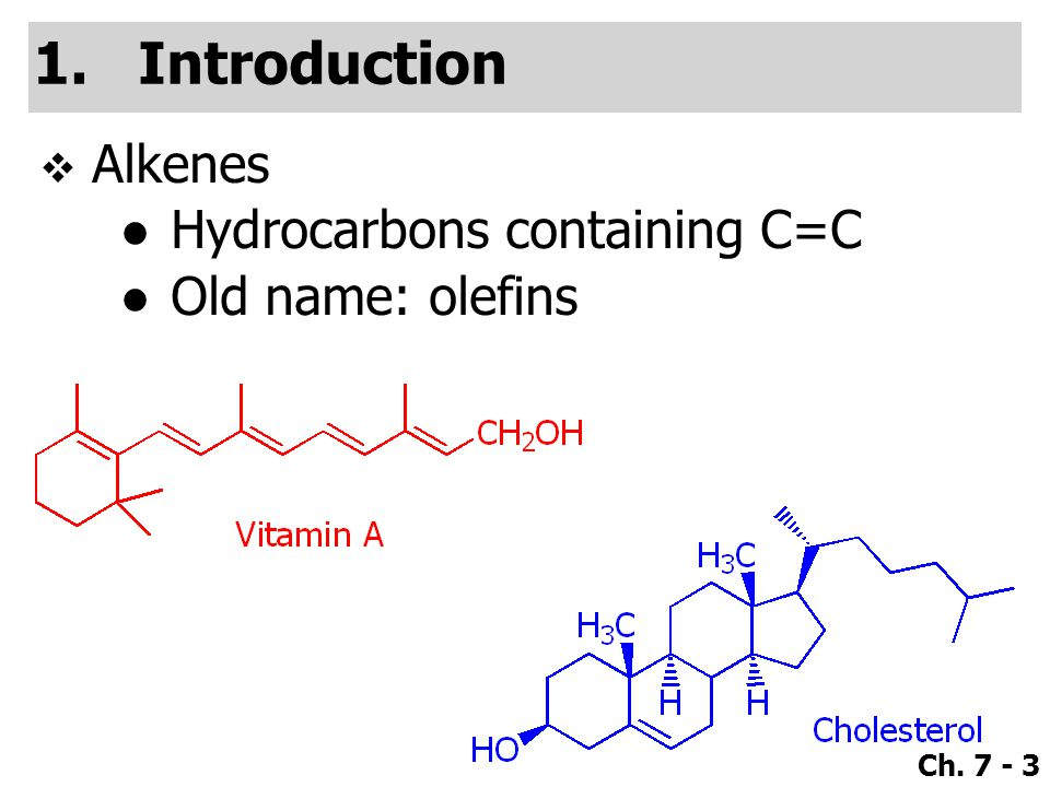 Ch. 7 - 3 1.Introduction  Alkenes ●Hydrocarbons containing C=C ●Old name: olefins