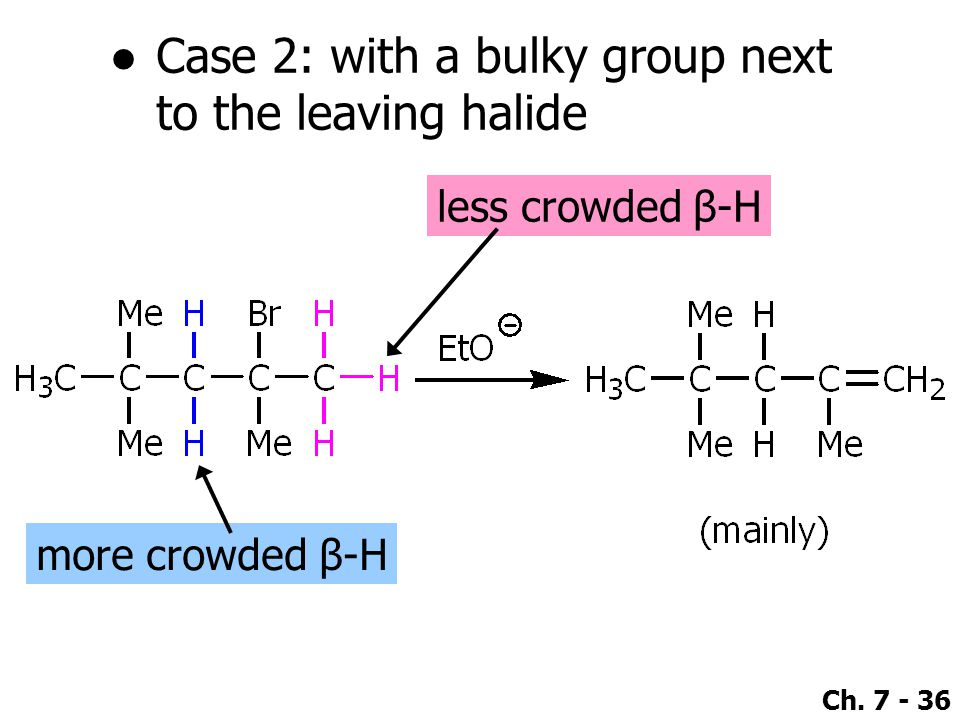 Ch. 7 - 36 ●Case 2: with a bulky group next to the leaving halide more crowded β-H less crowded β-H