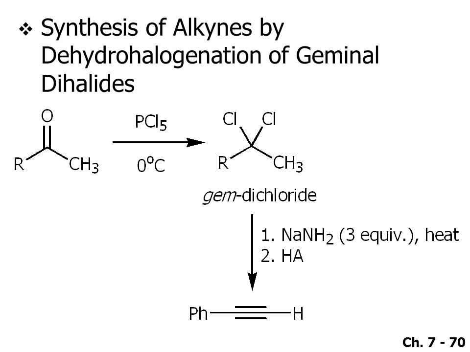 Ch. 7 - 70  Synthesis of Alkynes by Dehydrohalogenation of Geminal Dihalides