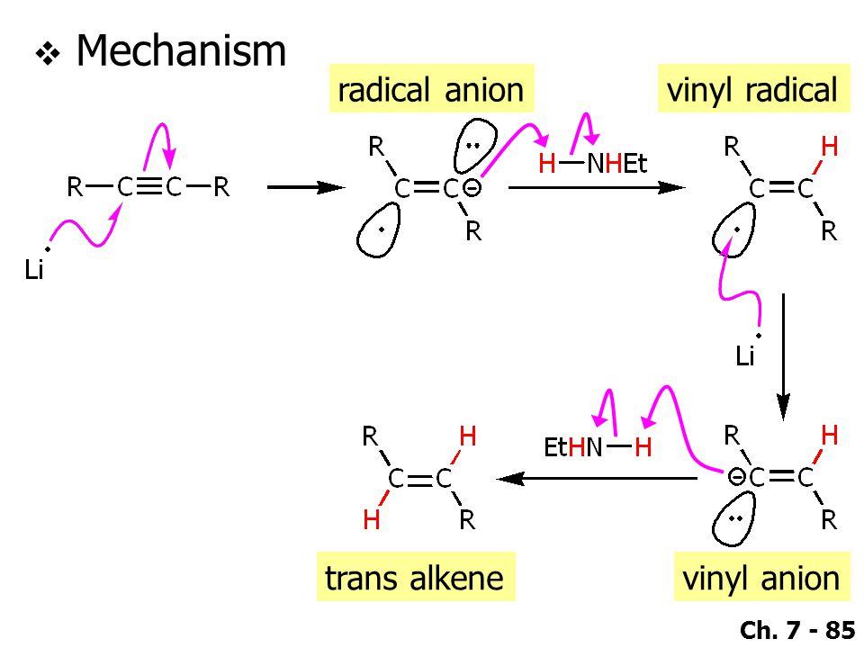 Ch. 7 - 85  Mechanism radical anionvinyl radical vinyl aniontrans alkene