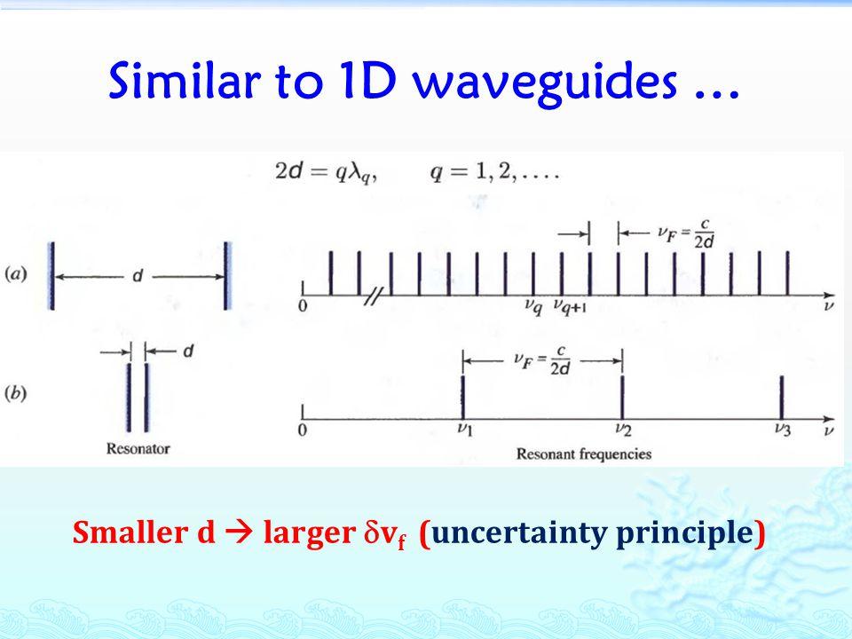 Similar to 1D waveguides … Smaller d  larger  v f (uncertainty principle)