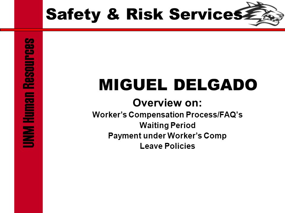 Safety & Risk Services MIGUEL DELGADO Overview on: Worker's Compensation Process/FAQ's Waiting Period Payment under Worker's Comp Leave Policies