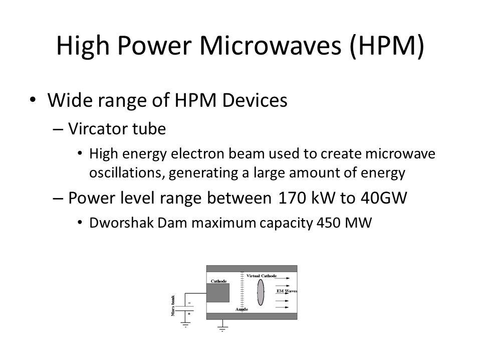 High Power Microwaves (HPM) Wide range of HPM Devices – Vircator tube High energy electron beam used to create microwave oscillations, generating a la