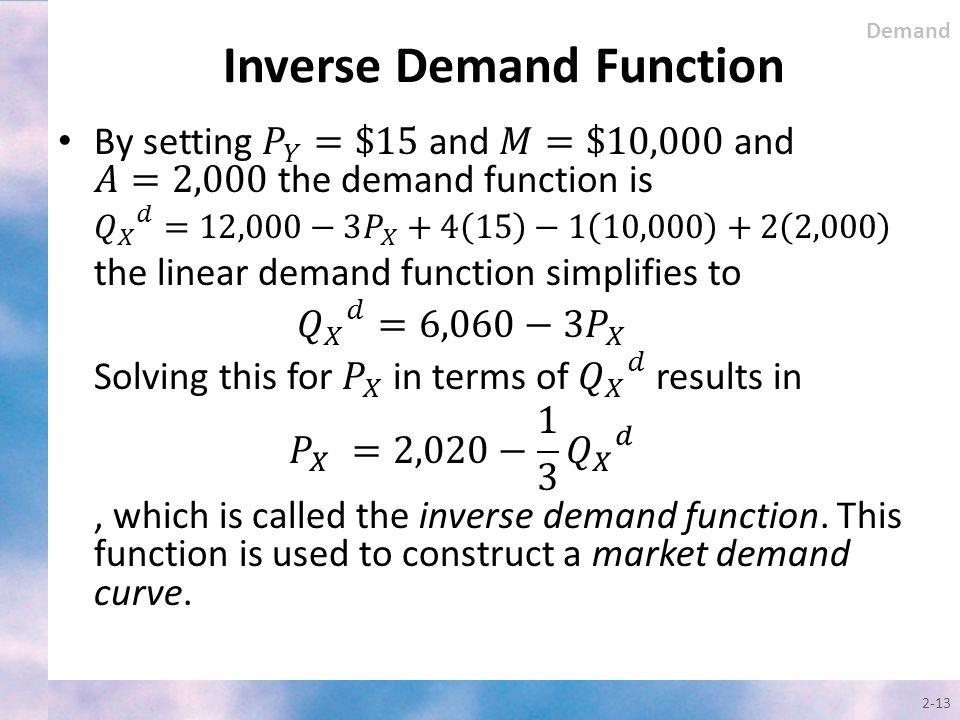 Inverse Demand Function 2-13 Demand