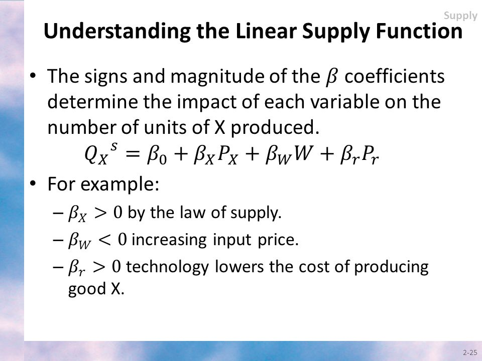 2-25 Supply Understanding the Linear Supply Function