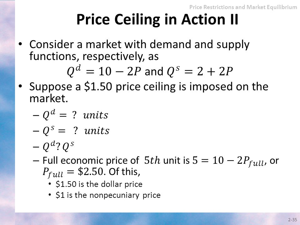 2-35 Price Restrictions and Market Equilibrium Price Ceiling in Action II