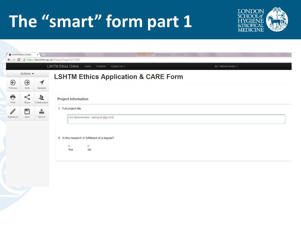 "The ""smart"" form part 1"