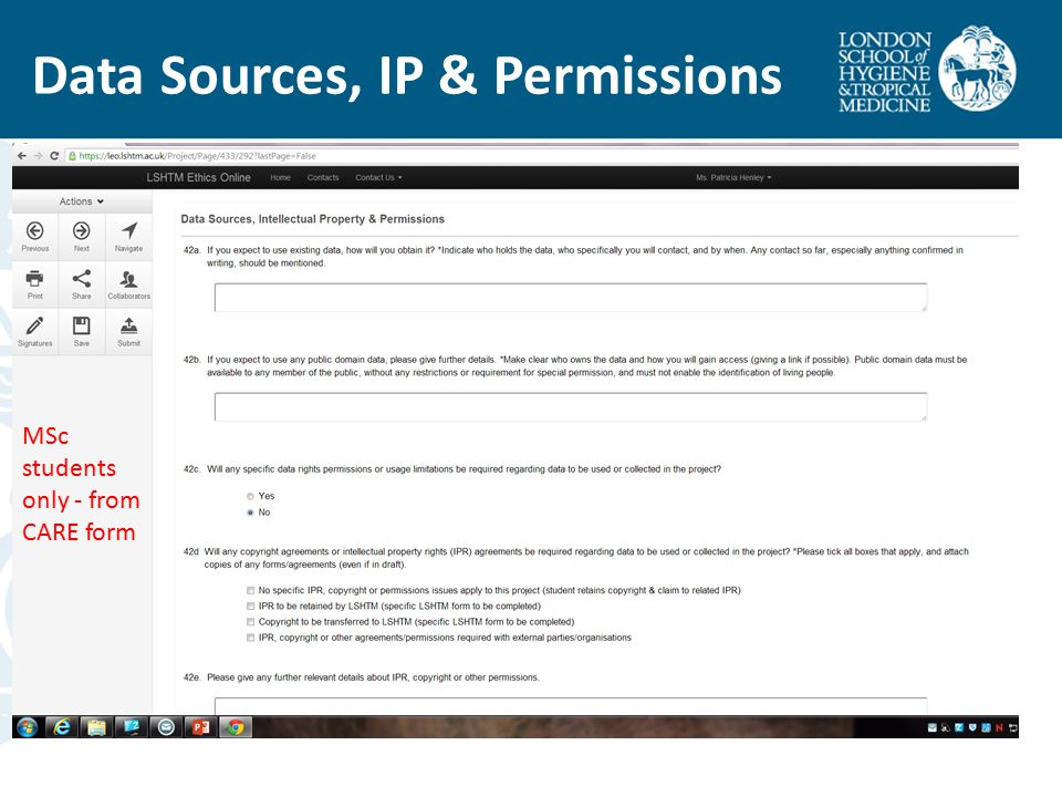 Data Sources, IP & Permissions MSc students only - from CARE form