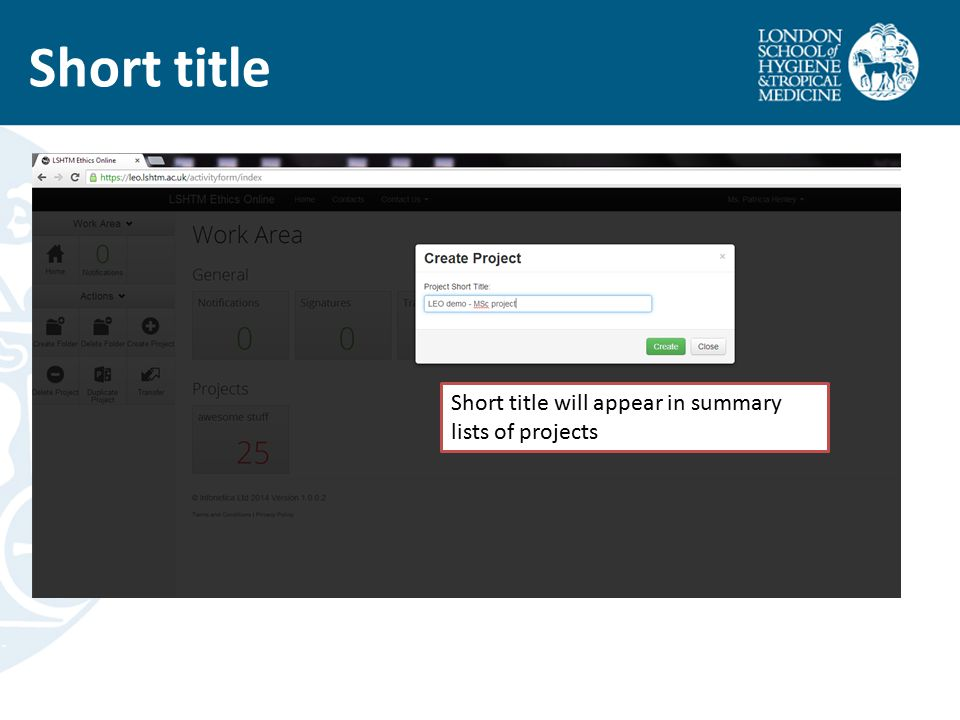 Short title Short title will appear in summary lists of projects
