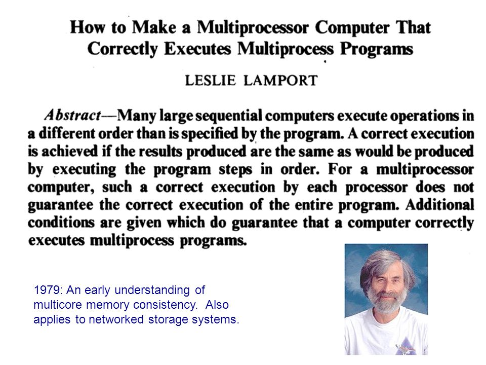 1979: An early understanding of multicore memory consistency.
