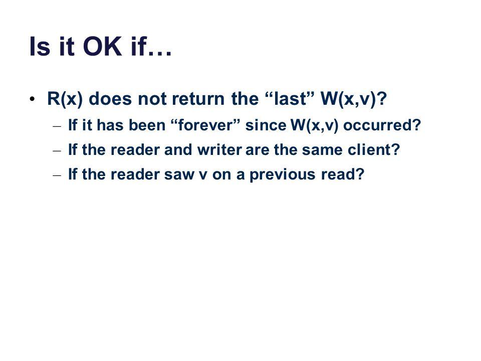 Is it OK if… R(x) does not return the last W(x,v).