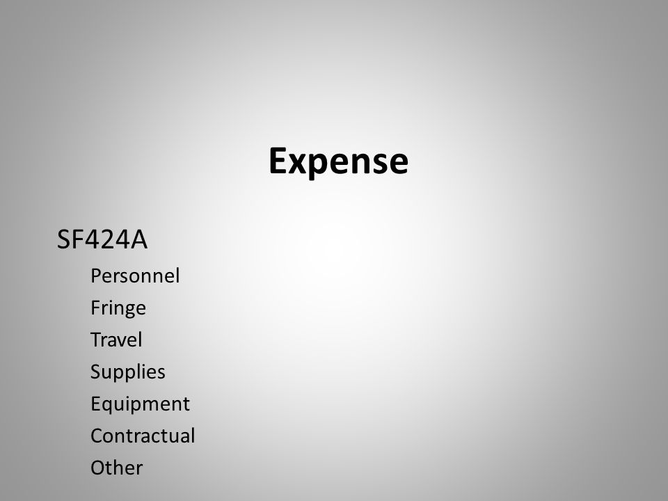 Expense SF424A Personnel Fringe Travel Supplies Equipment Contractual Other