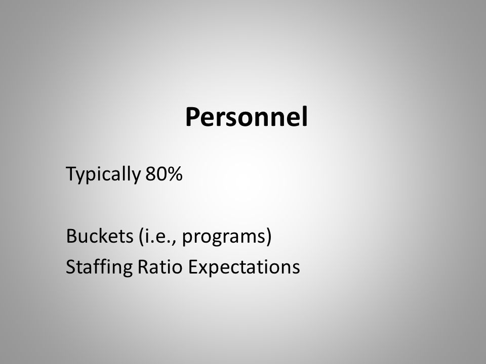 Personnel Typically 80% Buckets (i.e., programs) Staffing Ratio Expectations