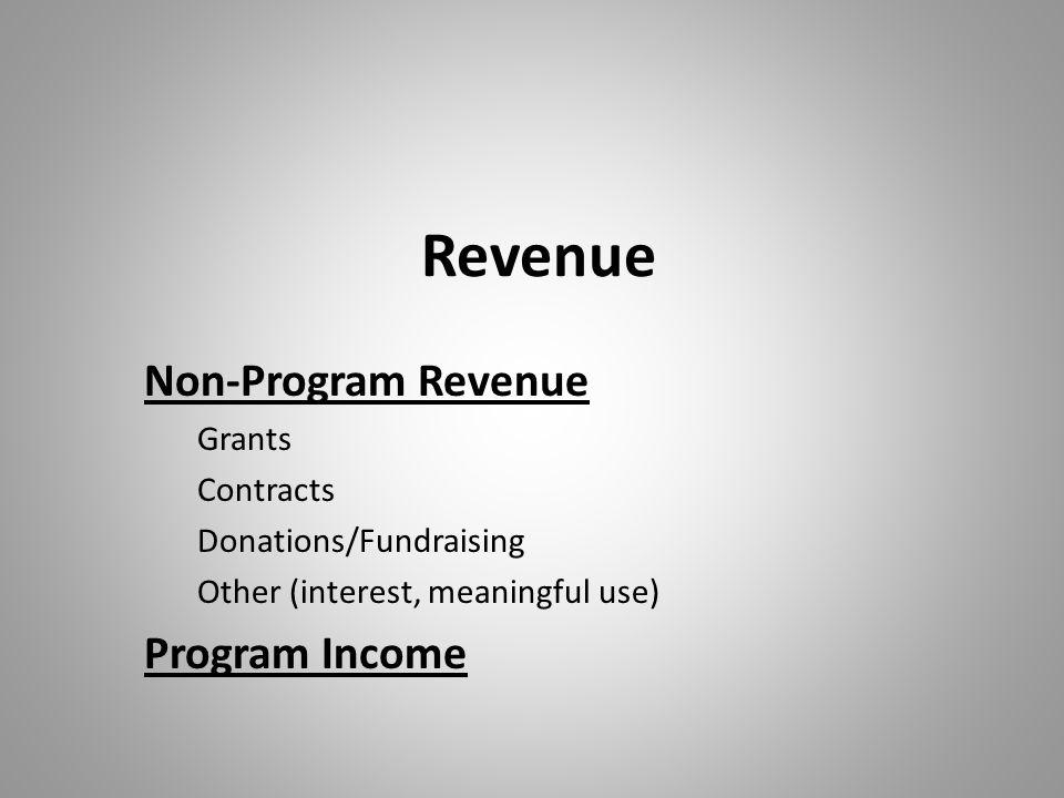 Revenue Non-Program Revenue Grants Contracts Donations/Fundraising Other (interest, meaningful use) Program Income