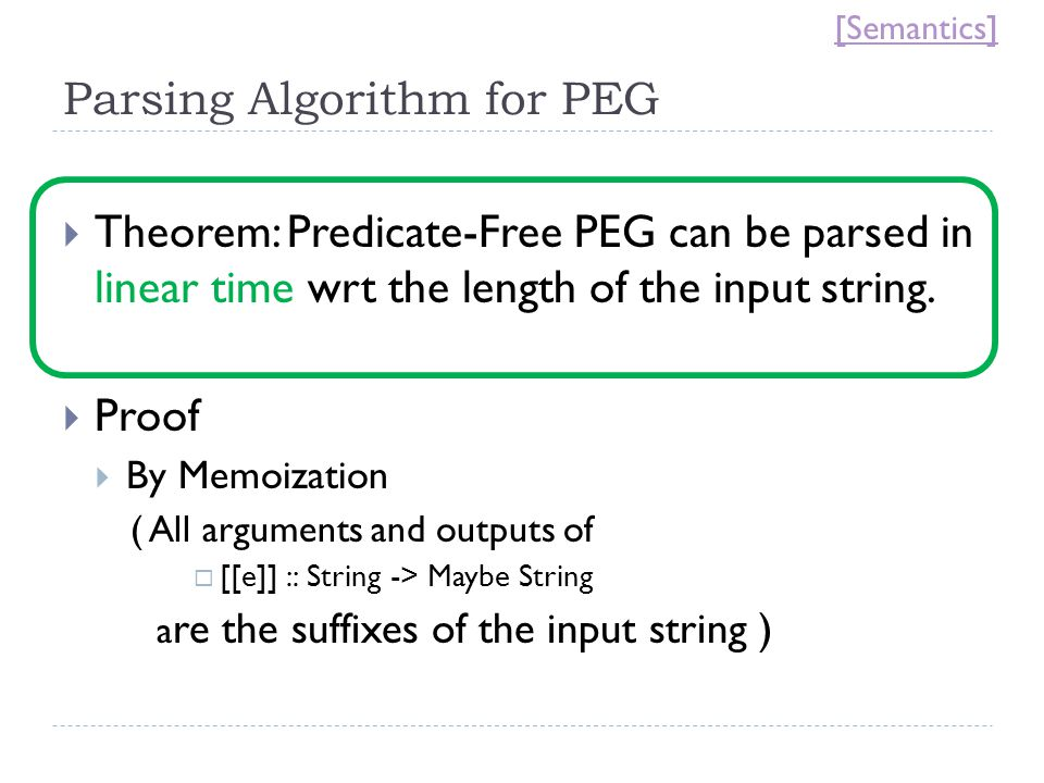 Parsing Algorithm for PEG  Theorem: Predicate-Free PEG can be parsed in linear time wrt the length of the input string.