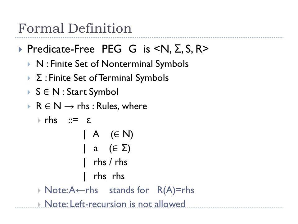 Semantics  [[ e ]] :: String → Maybe String where String= Σ *  [[ c ]] = λ s → case s of (for c ∈ Σ )  c : t → Just t  _ → Nothing  [[ e1 e2 ]] = λ s → case [[ e1 ]] s of  Just t → [[ e2 ]] t  Nothing → Nothing  [[ e1 / e2 ]] = λ s → case [[ e1 ]] s of  Just t → Just t  Nothing → [[ e2 ]] s  [[ ε ]] = λ s → Just s  [[ A ]] = [[ R(A) ]] (recall: R(A) is the unique rhs of A)