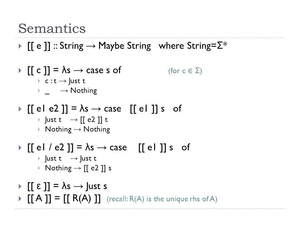 Summary  Parsing Expression Grammar (PEG) …  has prioritized choice e1/e2, rather than unordered choice e1|e2.