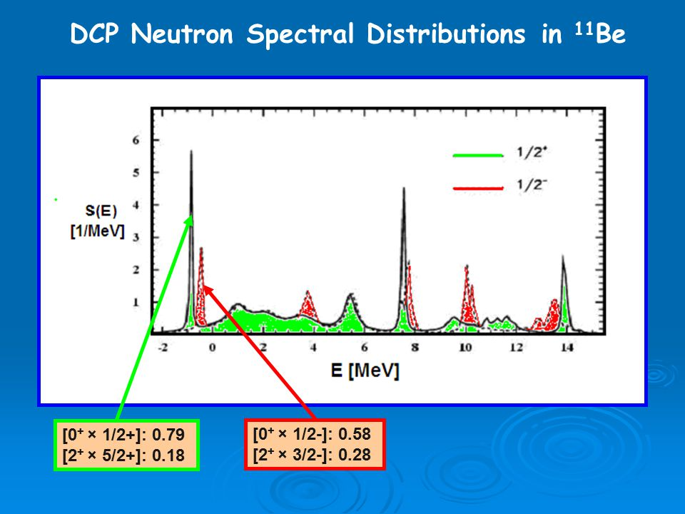 DCP Neutron Spectral Distributions in 11 Be [0 + × 1/2+]: 0.79 [2 + × 5/2+]: 0.18 [0 + × 1/2-]: 0.58 [2 + × 3/2-]: 0.28