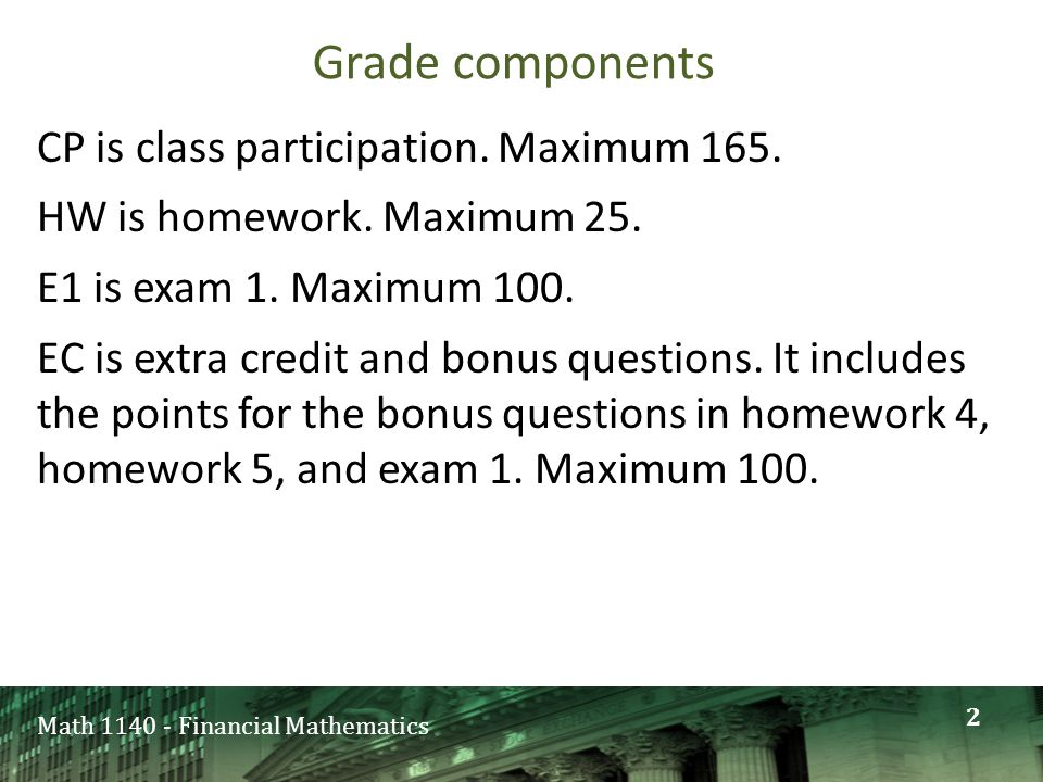 Math 1140 - Financial Mathematics Grade components CP is class participation.