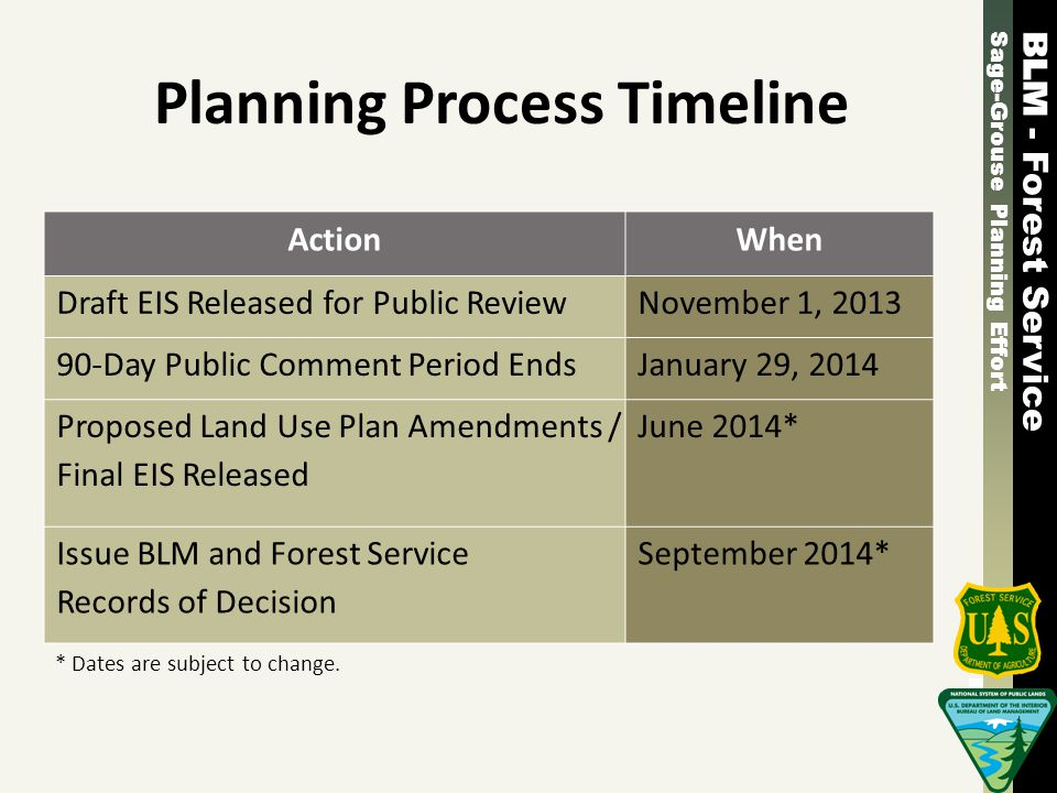 Sage-Grouse Planning Effort - Forest Service Sage-Grouse Planning Effort - Forest Service Planning Process Timeline ActionWhen Draft EIS Released for Public ReviewNovember 1, 2013 90-Day Public Comment Period EndsJanuary 29, 2014 Proposed Land Use Plan Amendments / Final EIS Released June 2014* Issue BLM and Forest Service Records of Decision September 2014* * Dates are subject to change.